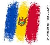 flag of moldova from brush... | Shutterstock .eps vector #455223244