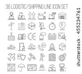 logistic icons. warehouse and... | Shutterstock .eps vector #455234761