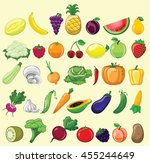 set of different cartoon fruits ... | Shutterstock .eps vector #455244649