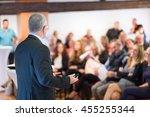 speaker at business conference... | Shutterstock . vector #455255344