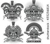 sets  centurion  coat of arms... | Shutterstock .eps vector #455256814