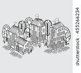 cartoon houses set. monochrome... | Shutterstock .eps vector #455266234