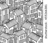 cartoon houses set. monochrome... | Shutterstock .eps vector #455266381