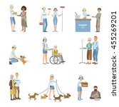 volunteers helping in different ... | Shutterstock .eps vector #455269201