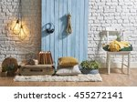 blue wooden wall with brick... | Shutterstock . vector #455272141
