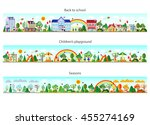 header set in flat style.... | Shutterstock .eps vector #455274169