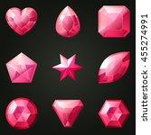 set of gemstones with different ... | Shutterstock .eps vector #455274991
