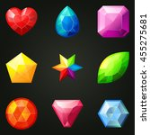 set of gemstones with different ... | Shutterstock .eps vector #455275681