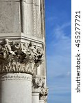 Small photo of Doge Palace ancient medieval capitals and columns with allegoric reliefs, in Saint Mark Square, Venice