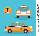 yellow taxi car   vector icon.... | Shutterstock .eps vector #455281471