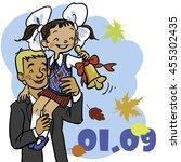 1 september.  funny children go ... | Shutterstock .eps vector #455302435