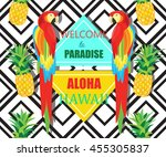 parrot  exotic flowers and... | Shutterstock . vector #455305837