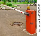 Small photo of Automatic Rising Arm Or Drop Barrier. Boom Barrier. Intelligent Straight Pole Barrier. Car Parking System.