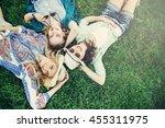 trendy hipster girls relaxing...   Shutterstock . vector #455311975
