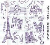 sightseeing in paris doodles | Shutterstock .eps vector #45532102