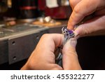 master jeweler produces a gold... | Shutterstock . vector #455322277