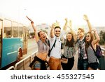 cheerful friends travelling ... | Shutterstock . vector #455327545