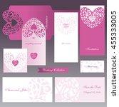 wedding set. openwork heart....   Shutterstock .eps vector #455333005