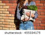 Linen Bag With Fresh Leaf...