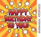 pop art style greeting card.... | Shutterstock .eps vector #455341021