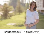 portrait of happy smiling young ... | Shutterstock . vector #455360944