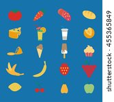 set of icons with fruits and a... | Shutterstock .eps vector #455365849
