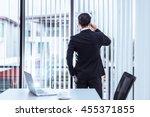back view of business man talk... | Shutterstock . vector #455371855