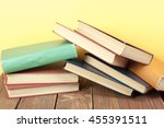 stack of colorful books.... | Shutterstock . vector #455391511
