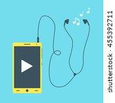 mobile phone with earphones ... | Shutterstock .eps vector #455392711