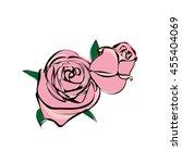 illustration rose flowers vector file, sketch style , doodle, pink two rose