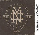 newyork label. vintage typo tee ... | Shutterstock .eps vector #455407489