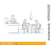 people in cafe. editable vector ... | Shutterstock .eps vector #455410105