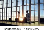 silhouettes of business people... | Shutterstock . vector #455419297