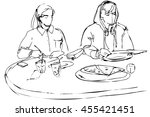 black and white vector sketch... | Shutterstock .eps vector #455421451