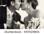 wedding bouquet lies on the... | Shutterstock . vector #455424841