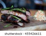 rum glazed st.louis cut ribs... | Shutterstock . vector #455426611