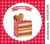 happy birthday and dessert... | Shutterstock .eps vector #455429194