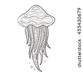 hand drawn  jellyfish in black... | Shutterstock . vector #455430679