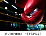 boxing gloves hangs off the... | Shutterstock . vector #455434114