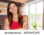 closeup portrait of young woman ... | Shutterstock . vector #455445295