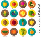 fruits and vegetables. set 1.... | Shutterstock .eps vector #455446561