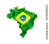 map of brazil. watercolor hand... | Shutterstock .eps vector #455449021
