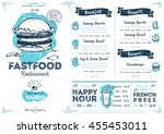 fast food menu design and fast... | Shutterstock .eps vector #455453011