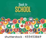 back to school banner with flat ... | Shutterstock .eps vector #455453869