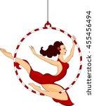 trapeze artist with hoop    Shutterstock .eps vector #455456494