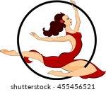 trapeze artist with hoop    Shutterstock .eps vector #455456521