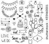 set of cute doodle style... | Shutterstock .eps vector #455460001