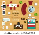 set of furniture icons for room ... | Shutterstock .eps vector #455464981