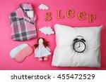 sleep concept with accessories... | Shutterstock . vector #455472529