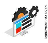 gears and computer monitor icon ... | Shutterstock .eps vector #455479471